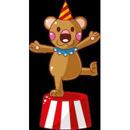 Sticker cirque ourson avec chapeau