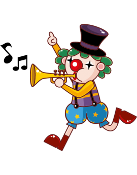 Sticker cirque clown trompette