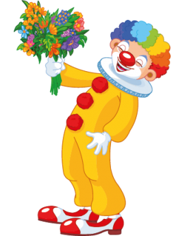 Sticker cirque clown fleurs