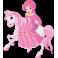 Sticker princesse et cheval rose