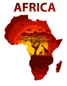Stickers pays afrique arbre girafe