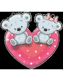Stikers ourson cœur rose gris