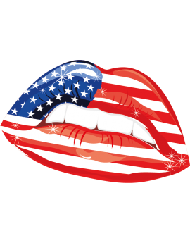 Stickers bouche USA