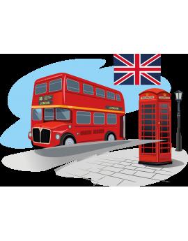 Stickers Londre bus cabine téléphonique drapeau