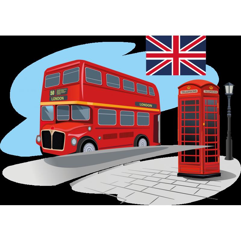 stickers londre bus cabine t l phonique drapeau color stickers. Black Bedroom Furniture Sets. Home Design Ideas
