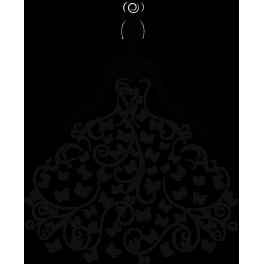 Stickers femme robe cœur arabesque chignon