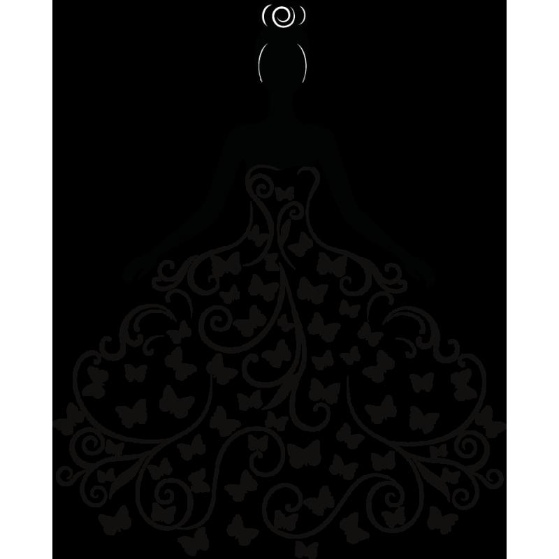 Stickers femme robe c ur arabesque chignon color stickers - Robe de mariee bustier transparent ...