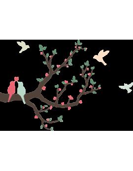Stickers oiseaux sur branches cœur