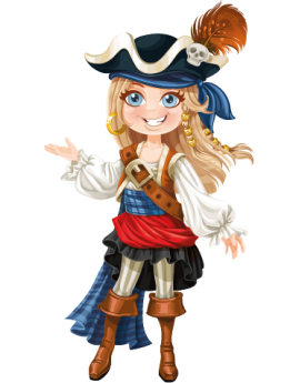Stickers pirate fille blonde