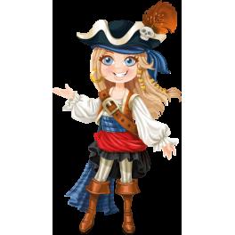 Stickers pirate fille blonde