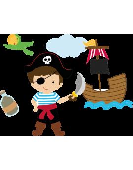 Stickers kit pirate enfant bateau perroquet nuage bouteil