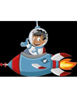 Stickers astronaute garçon avec fusée