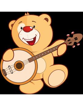 Stickers ourson avec guitare