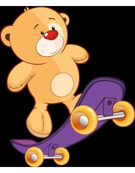 Stickers ourson avec skate