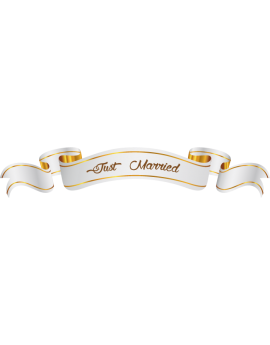 Stickers  banderolle mariage just married