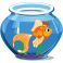 Stickers bocale poisson rouge couronne