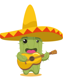 Stickers cactus mexicain guitare