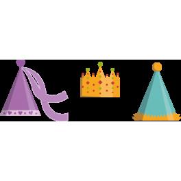 Stickers chapeaux princesse roi clown