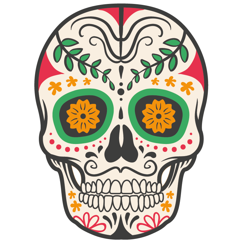 stickers t te de mort mexicaine color stickers. Black Bedroom Furniture Sets. Home Design Ideas