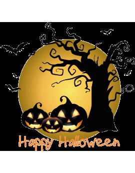 Stickers halloween citrouille chauves souris arbre