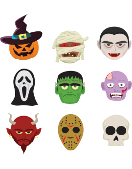 Stickers kit halloween montres couleurs