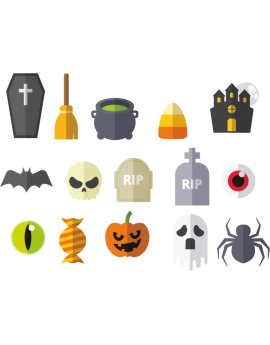 Stickers halloween tombes crane soupière balais cercueil