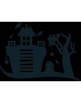 Stickers kit halloween chateau hanté toile d'araignée arbre