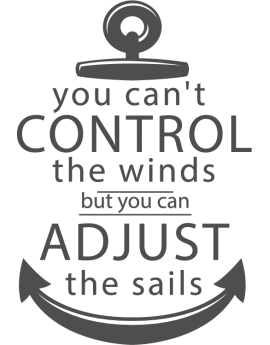 Stickers texte ancre you can't control the winds
