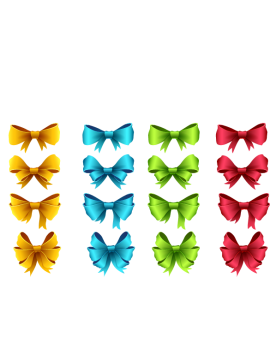 Stickers kit nœuds jaune vert bleu rouge