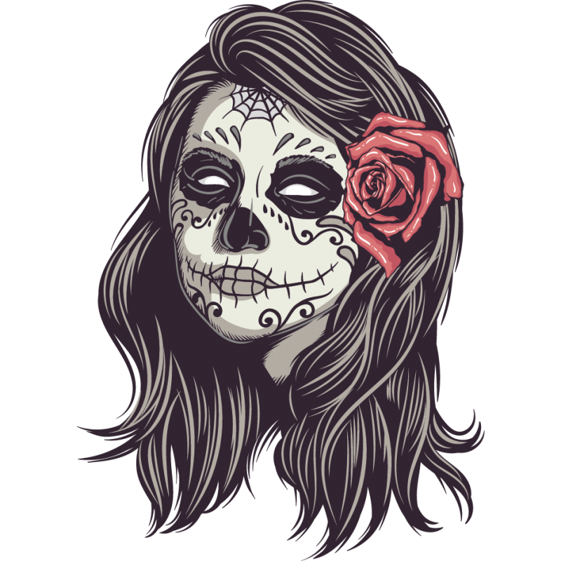 stickers t te de mort mexicain femme color stickers. Black Bedroom Furniture Sets. Home Design Ideas