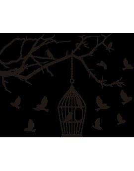 Stickers branche d'arbre oiseaux cage