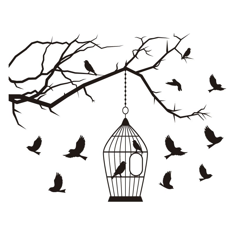 stickers branche d 39 arbre oiseaux cage color stickers. Black Bedroom Furniture Sets. Home Design Ideas