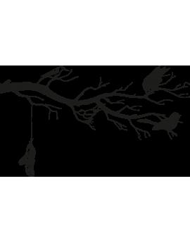 Stickers branche d'arbre plume oiseau