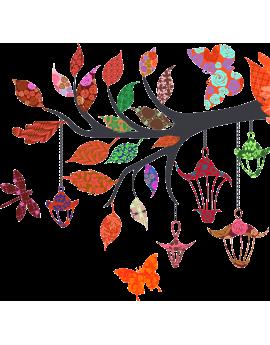 Stickers branche patchwork libéllule