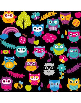 Stickers kit hibou pour chambre enfant