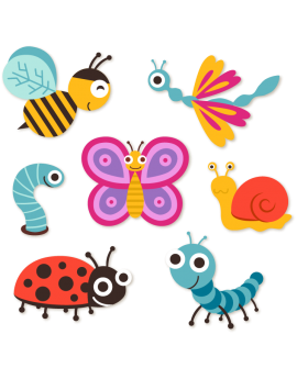Sticker kit coccinelle papillon escargot abeille libellule chenille
