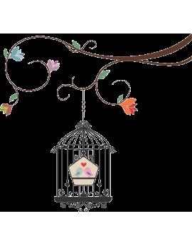 Stickers branche avec cage oiseaux