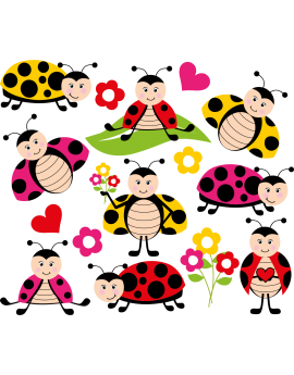 Stickers kit coccinelles enfant