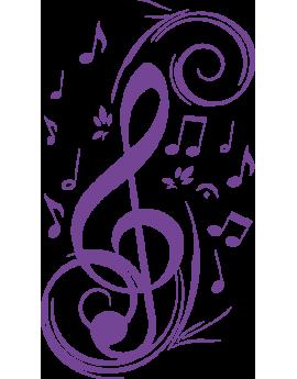 Stickers clé de sol note de musique