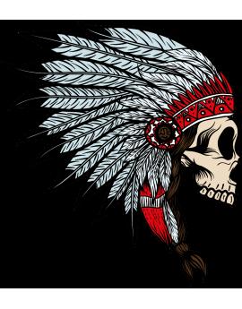 Stickers tête de mort coiffe d'indien Amérique