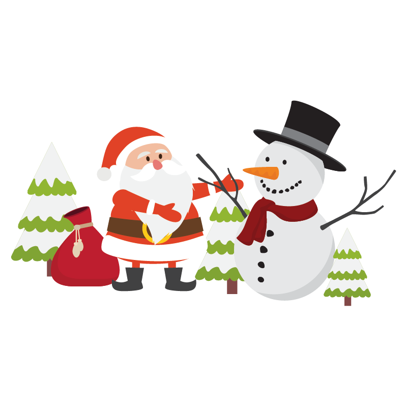 Stickers no l p re no l sapin bonhomme de neige color - Pere noel sapin ...
