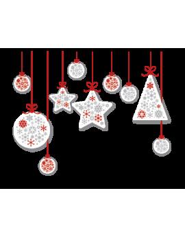 Stickers guilande de boules et étoiles blanche et rouge