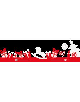 Stickers cadeaux cheval à bascule sapin flocons