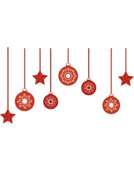Stickers guirlande de boules de noël rouge