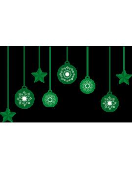 Stickers guirlande de boules de noël verte