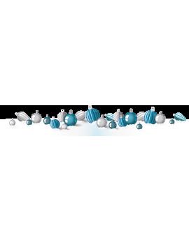 Stickers neiges avec boules bleu et argent