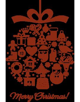 Stickers boules de noël merry christimas
