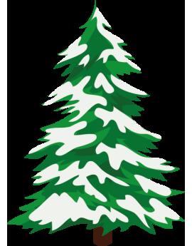 Stickers sapin de noël vert avec neige