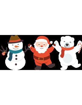 Stickers kit père noël ourson blanc bonhomme de neige