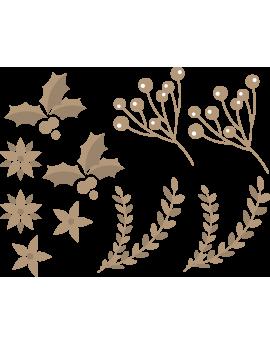 Stickers branches feuilles fleurs de noël
